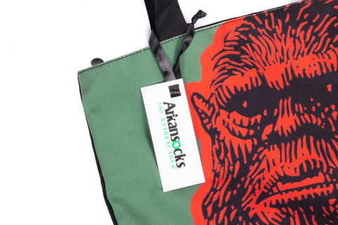 Mug Shot Canvas Zip Tote (Olive/Orange)