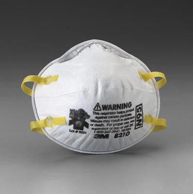3M 8210 N95 Particulate Disposable Respirator - NIOSH 42CFR84 (20 Each Per Box)