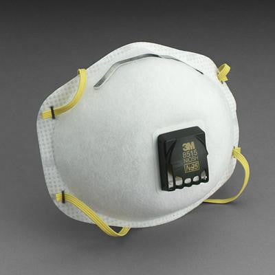 3M 8515 N95 Particulate Disposable Respirator With Cool Flow Exhalation Valve And M-Noseclip - NIOSH 42CFR84 (10 Each Per Box)