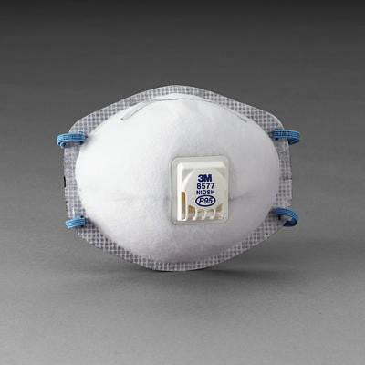 3M 8577 P95 Particulate Disposable Respirator With Cool Flow Exhalation Valve And M-Noseclip - NIOSH 42CFR84 (10 Each Per Box)