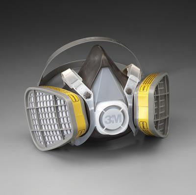 3M Large Thermoplastic Elastomer Series 5000 Half Mask Organic Vapor/Acid Gas Disposable Air Purifying Respirator