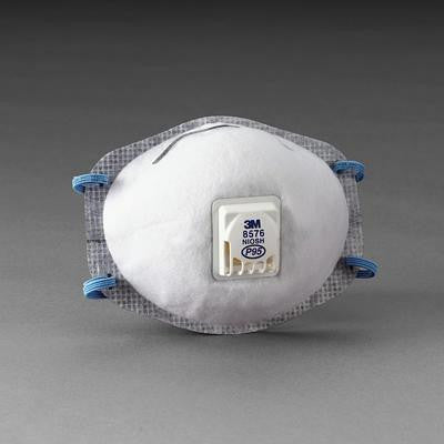 3M 8576 P95 Particulate Disposable Respirator With Cool Flow Exhalation Valve And M-Noseclip - NIOSH 42CFR84 (10 Each Per Box)