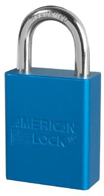 "American Lock Blue Padlock With 1 1/2"" Solid Aluminum Body 1"" Shackle (Keyed Differently)"