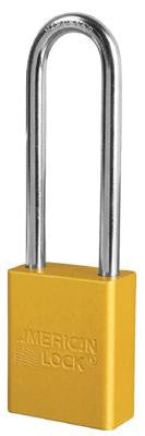 "American Lock Yellow Padlock With 1 1/2"" Solid Aluminum Body 3"" Shackle (Keyed Differently)"
