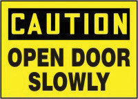 "Accuform Signs 10"" X 14"" Black And Yellow Adhesive Vinyl Admittance And Exit Sign ""Caution Open Door Slowly"""
