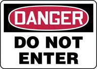 "Accuform Signs 10"" X 14"" Red, Black And White Adhesive Vinyl Admittance And Exit Sign ""Danger Do Not Enter"""