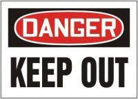 "Accuform Signs 7"" X 10"" Red, Black And White Adhesive Vinyl Value Admittance Sign ""Danger Keep Out"""