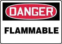 "Accuform Signs 10"" X 14"" Red, Black And White Adhesive Vinyl Chemical And Hazardous Material Sign ""Danger Flammable  """
