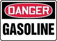 "Accuform Signs 10"" X 14"" Red, Black And White Adhesive Vinyl Chemical And Hazardous Material Sign ""Danger Gasoline"""