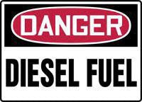 "Accuform Signs 10"" X 14"" Red, Black And White Adhesive Vinyl Chemical And Hazardous Material Sign ""Danger Diesel Fuel"""