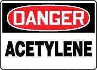 "Accuform Signs 7"" X 10"" Red, Black And White Adhesive Vinyl Chemical And Hazardous Material Sign ""Danger Acetylene"""