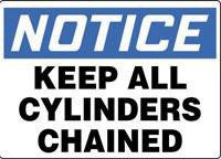 "Accuform Signs 10"" X 14"" Blue, Black And White Adhesive Vinyl Value Cylinder And Compressed Gas Sign ""Notice Keep All Cylinders Chained"""