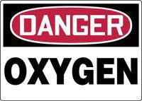 "Accuform Signs 7"" X 10"" Red, Black And White Adhesive Vinyl Chemical And Hazardous Material Sign ""Danger Oxygen"""