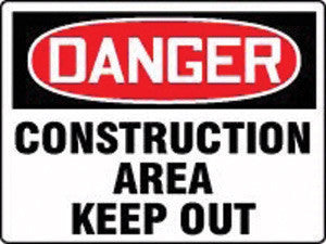 "Accuform Signs 7"" X 10"" Red, White And Black Adhesive Vinyl Value Admittance & Exit Safety Sign ""Danger Construction Area Keep Out"""