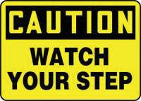 "Accuform Signs 7"" X 10"" Black And Yellow Adhesive Vinyl Value Fall Protection Sign ""Caution Watch Your Step"""