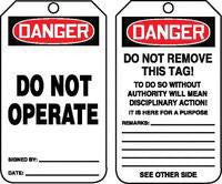 "Accuform Signs 5 7/8"" X 3 1/8"" HS Laminate Accident Prevention Tag ""Danger Do Not Operate"" With Do Not Remove Tag Warning On Back (25 Per Package)"