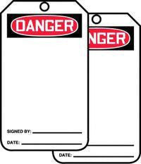 "Accuform Signs 5 7/8"" X 3 1/8"" PF Cardstock Accident Prevention Tag ""Danger"" (25 Per Package)"