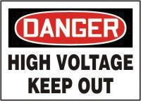 "Accuform Signs 10"" X 14"" Red, Black And White Adhesive Vinyl Electrical Sign ""Danger High Voltage Keep Out"""