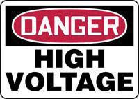 "Accuform Signs 10"" X 14"" Red, Black And White Adhesive Vinyl Electrical Sign ""Danger High Voltage"""
