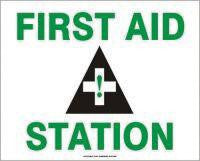 "Accuform Signs 7"" X 10"" Green, Black And White Adhesive Vinyl First Aid Sign With Pictogram ""First Aid Station"""