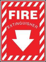 "Accuform Signs 10"" X 7"" Red And White Adhesive Vinyl Value Extinguisher Sign ""Fire Extinguisher"" With Down Arrow"