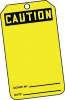 "Accuform Signs 5 7/8"" X 3 1/8"" HS Laminate Accident Prevention Tag ""Caution"" (25 Per Package)"
