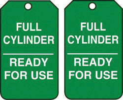 "Accuform Signs 5 7/8"" X 3 3/8"" Green And White RP-Plastic Safety Sign ""Full Cylinder/Ready For Use"" (25 Per Pack)"