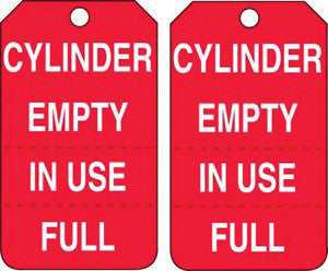 "Accuform Signs 5 7/8"" X 3 3/8"" Red And White RP-Plastic Perforated Cylinder Status Tag ""Cylinder Empty In Use/Full"" (25 Per Package)"