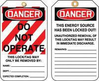 "Accuform Signs 5 7/8"" X 3 1/8"" HS Laminate Lockout Tag ""Danger Do Not Operate"" (25 Per Package)"