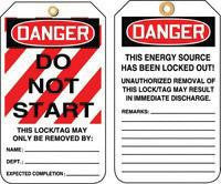 "Accuform Signs 5 7/8"" X 3 1/8"" PF Cardstock Lockout Tag ""Danger Do Not Start"" (25 Per Package)"