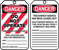 "Accuform Signs 5 7/8"" X 3 1/8"" Red, Black And White PF-Cardstock Two-Sided Tagout Safety Tags ""Danger Do Not Operate Equipment Locked Out This Lock/Tag May Only Be Removed By: Name: ___ . . . "" (25 Per Package)"