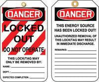 "Accuform Signs 5 7/8"" X 3 1/8"" RV Plastic Lockout Tag ""Danger Locked Out Do Not Operate"" (25 Per Package)"