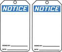 "Accuform Signs 5 7/8"" X 3 1/8"" Blue, Black And White PF Cardstock Accident Prevention Tag ""Notice"" (25 Per Package)"