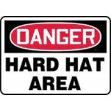 "Accuform Signs 10"" X 14"" Red, Black And White Adhesive Vinyl Personal Protection Sign ""Danger Hard Hat Area"""
