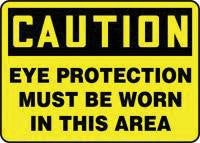 "Accuform Signs 10"" X 14"" Black And Yellow Adhesive Vinyl Personal Protection Sign ""Caution Eye Protection Must Be Worn In This Area"""