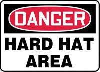 "Accuform Signs 10"" X 14"" Red, Black And White Plastic Personal Protection Sign ""Danger Hard Hat Area"""
