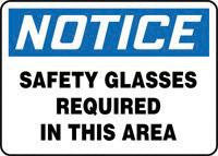 "Accuform Signs 10"" X 14"" Blue, Black And White .040 Aluminum Personal Protection Sign ""Notice Safety Glasses Required In This Area"""