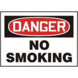 "Accuform Signs 10"" X 14"" Red, Black And White Adhesive Vinyl Smoking Control Sign ""Danger No Smoking"""