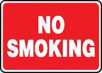 "Accuform Signs 10"" X 14"" Red And White Aluminum Value Smoking Control Sign ""No Smoking"""
