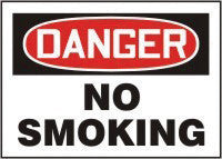 "Accuform Signs 7"" X 10"" Red, Black And White Adhesive Vinyl Smoking Control Sign ""Danger No Smoking"""