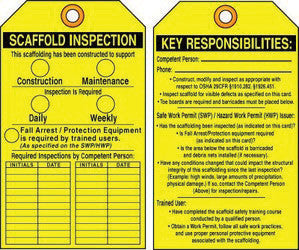 "Accuform Signs 5 5/8"" X 3 3/8"" Yellow And Black RP-Plastic Two Sided Scaffold Status Tag ""Scaffold Inspection/Key Responsibilities"" (25 Per Pack)"