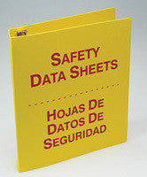 "Accuform Signs 1 1/2"" 3-Ring Red And Yellow Bilingual Safety Data Sheets Binder With 36"" Metal Security Chain (English/Spanish)"