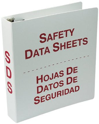 "Accuform Signs 1 1/2"" 3-Ring Red And White Safety Data Sheets Binder With 36"" Metal Security Chain"