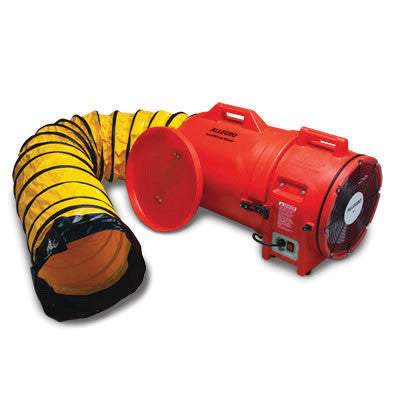 "Allegro Industries 12"" Orange Plastic Com-Pax-Ial Blower With 1 HP 110/220 VAC 50/60 Hz Motor And 25' Flexible Ducting In Additional Cannister"