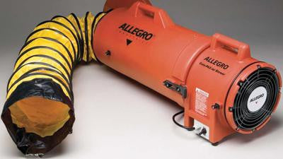 "Allegro Industries 8"" Plastic COM-PAX-IAL Blower With Canister and 15' Ducting"