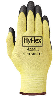 Ansell Size 8 HyFlex Light Duty Cut Resistant Black Foam Nitrile Palm Coated Work Glove With Yellow DuPont Kevlar Liner And Knit Wrist