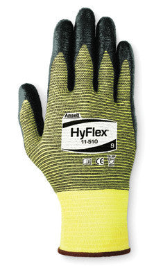 Ansell Size 7 HyFlex Light Duty Cut Resistant Black Foam Nitrile Palm Coated Work Glove With Yellow DuPont Kevlar And Nylon Liner, ComfortFlex Knit Wrist, And Zonal Plaiting On Palm And Back
