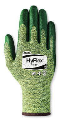 Ansell Size 8 HyFlex Medium Duty Cut Resistant Green Foam Nitrile Palm Coated Work Glove With Intercept Technology DuPont Kevlar Liner And Knit Wrist
