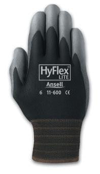Ansell Size 6 HyFlex Light Duty Multi-Purpose Gray Polyurethane Palm Coated Work Glove With Black Nylon Liner And Knit Wrist