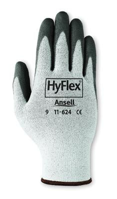 Ansell Size 6 HyFlex Light Duty Cut Resistant Black Polyurethane Palm Coated Work Glove With White DSM Dyneema And Lycra Liner And Knit Wrist